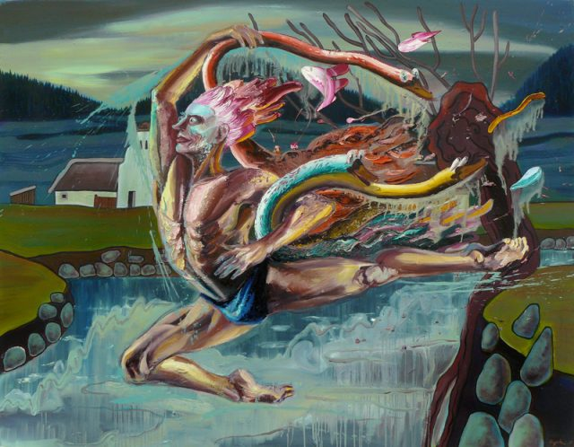 Thief of swans, oil on canvas, 160x200cm