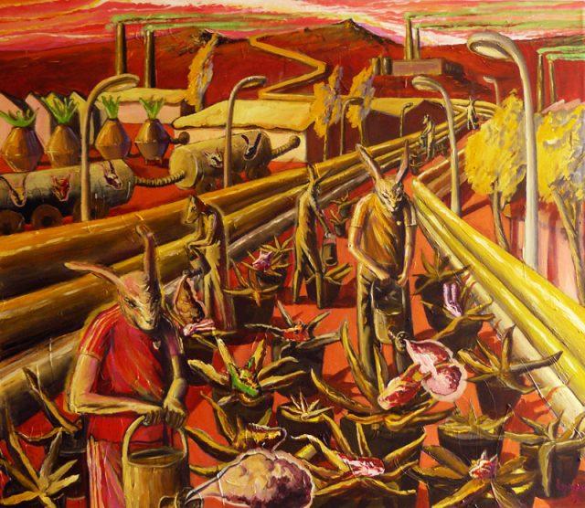 Fabrika, acryl on canvas, 130x150cm